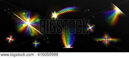 Rainbow Crystal Light, Prism Flare Reflection, Lens Refraction, Falling Star, Glass, Jewelry Or Gem