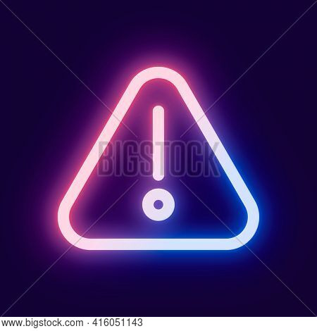Warning social media icon in pink neon style