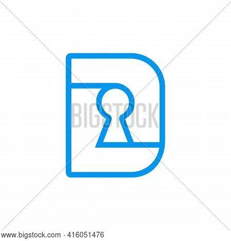 Letter D Keyhole Logo Design, Alphabet D Lock Symbol, Line Art Style Icon - Vector