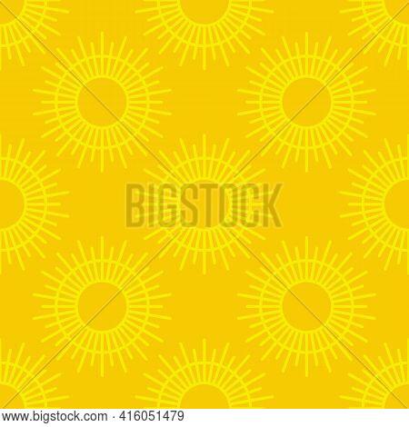 Sun Seamless Pattern, Abstract Sunburst Background, Bohemian Or Scandinavian Concept - Vector