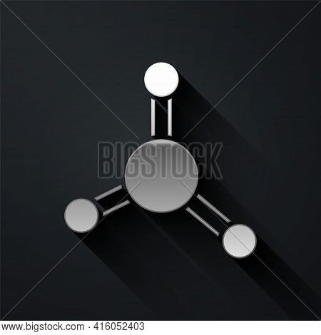 Silver Molecule Icon Isolated On Black Background. Structure Of Molecules In Chemistry, Science Teac