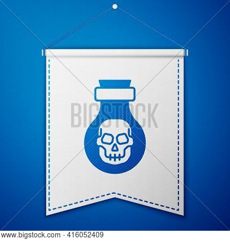 Blue Poison In Bottle Icon Isolated On Blue Background. Bottle Of Poison Or Poisonous Chemical Toxin