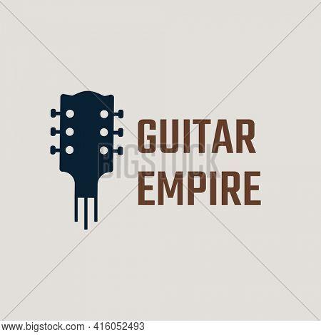 Guitar logo flat design with guitar empire text