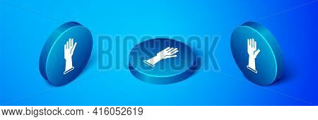 Isometric Medical Rubber Gloves Icon Isolated On Blue Background. Protective Rubber Gloves. Blue Cir