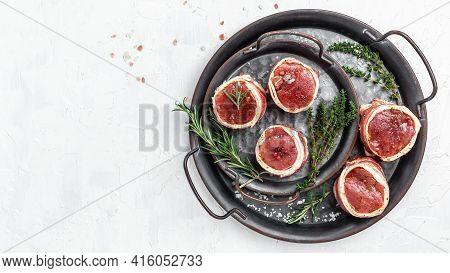 Raw Beef Filet Mignon Steak On Metel Tray With Pepper And Salt, Filet Mignon. Beef Tenderloin Steaks