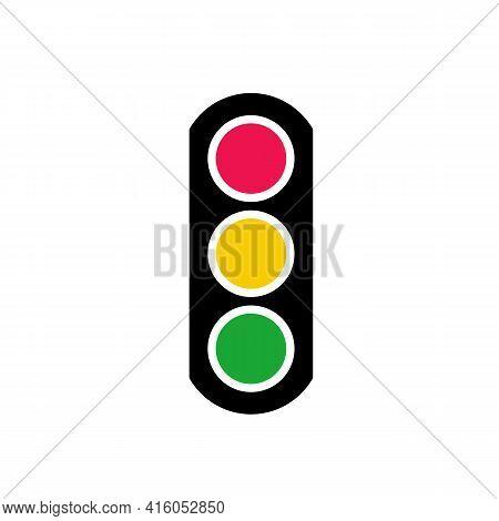Traffic Light Or Traffic Signal Icon Design, Flat Illustration - Vector