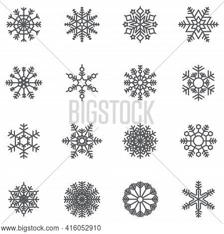 Set Of Snowflake Icon. Grey Linear Outline Graphic. Symbol Vector Illustrator.