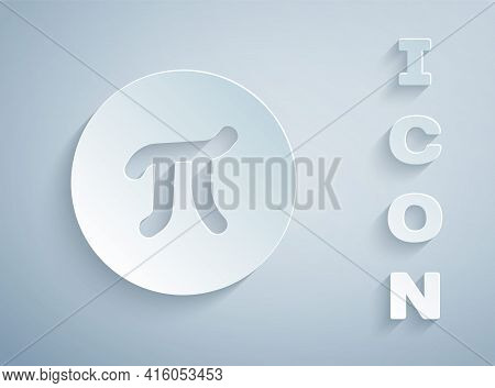 Paper Cut Pi Symbol Icon Isolated On Grey Background. Paper Art Style. Vector