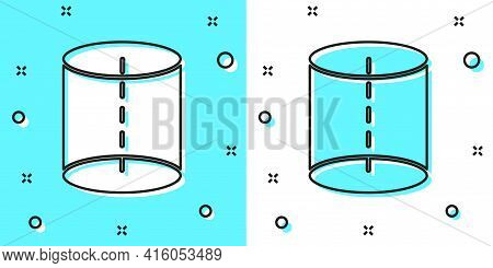Black Line Geometric Figure Icon Isolated On Green And White Background. Abstract Shape. Geometric O