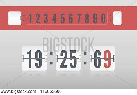 White Scoreboard Number Font. Retro Score Board Clock Template. Vector Modern Ui Design Of Old Time