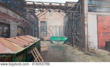 Factory Abandoned By People. Impasse. Half Destroyed. 3d Rendering, 3d Illustration