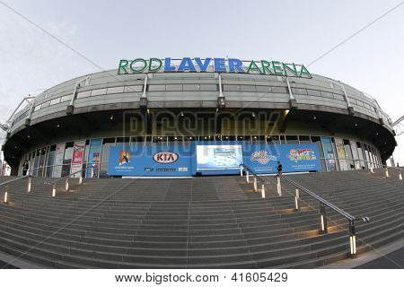 MELBOURNE,  VC - JANUARY 23: A General view of the exterior of Rod Laver Arena during the 2013 Australian Open on January 23rd 2013 in Melbourne.