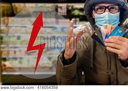 Protest Of Man In Supermarket Against Rising Food Prices During Economic Crisis Caused By Covid-19.