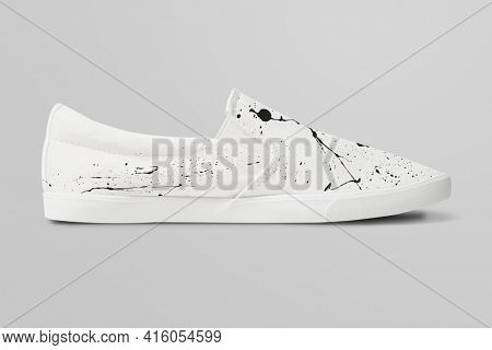 White slip-on unisex with paint splash design streetwear sneakers fashion