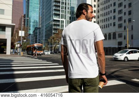 Printed back t-shirt white minimal style men's streetwear