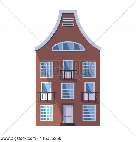 European Brown Old House In The Traditional Dutch Town Style With A Double Gable Roof, Round Attic W
