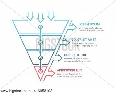Funnel Diagram With 4 Elements, Infographic Template For Web, Business, Presentations, Vector Eps10