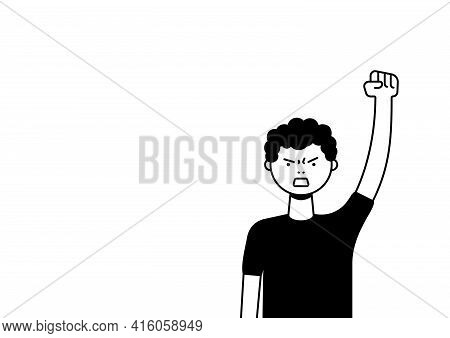 A Man Protests With A Raised Up Fist, Screaming Angrily. Male Protester Or Activist. Design For Hori