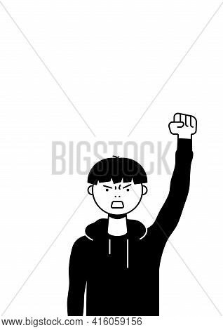 A Man Protests With A Raised Up Fist, Screaming Angrily. Male Protester Or Activist. Design For Vert