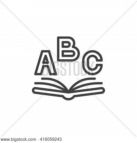 Abc Book Line Icon. Linear Style Sign For Mobile Concept And Web Design. Alphabet Book Outline Vecto