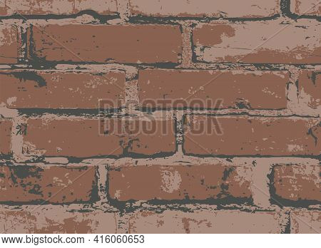 Seamless Pattern With Scuffed Brown Brick Wall. Vector Texture In The Grunge Style With Old Horizont