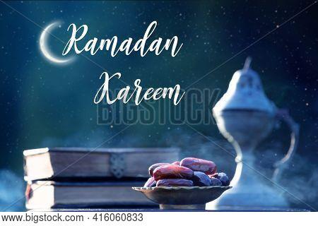 Festive greeting card for Muslim holy month Ramadan Kareem with dates, Quaran and censer