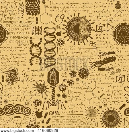 Vector Abstract Background On The Theme Of Virology, Medicine, Chemistry, Biology. Seamless Pattern