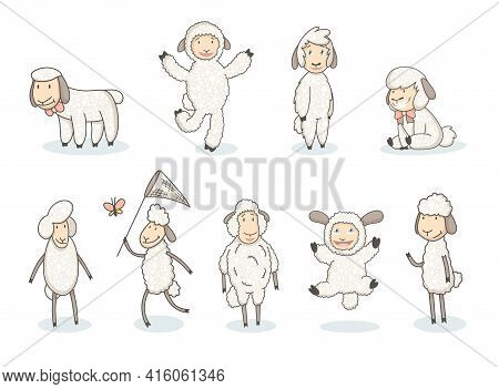 Cute White Sheep Collection. Cartoon Funny Sheeps In Hand Drawn Style. Vector Set Of Graphic Design