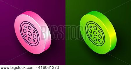 Isometric Line Sewing Button For Clothes Icon Isolated On Purple And Green Background. Clothing Butt