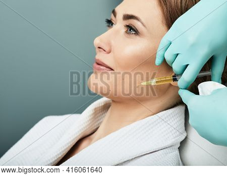 Plasmolifting Injection, Plasma Therapy. Cosmetology Procedure For Womans Face Skin Using Blood Plas