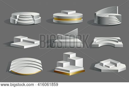 Collection Of Podium Realistic. Showroom Pedestals Floor Stage Platforms Vector Isolated Mockup. 3d