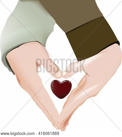 Couple Hands Joined In Heart Shape With Love Couple Hands Joined In Heart Shape With Love