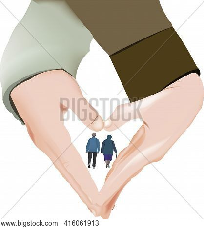 Couple Hands Joined In Grandparents Heart Shape Couple Hands Joined In Grandparents Heart Shape