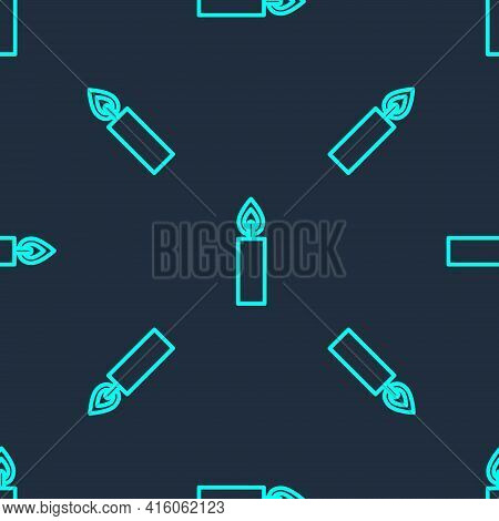 Green Line Burning Candle Icon Isolated Seamless Pattern On Blue Background. Cylindrical Candle Stic