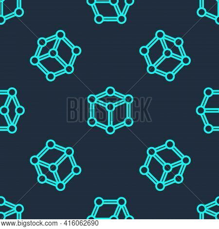 Green Line Molecule Icon Isolated Seamless Pattern On Blue Background. Structure Of Molecules In Che