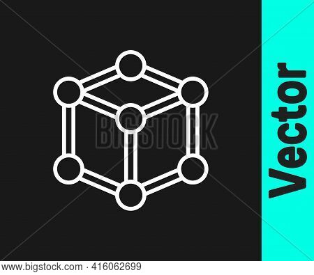 White Line Molecule Icon Isolated On Black Background. Structure Of Molecules In Chemistry, Science