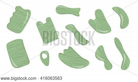 Big Set Of Gua Sha Scraping Massage Tool. Collection Of Different Shape Natural Green Jade Gemstone.