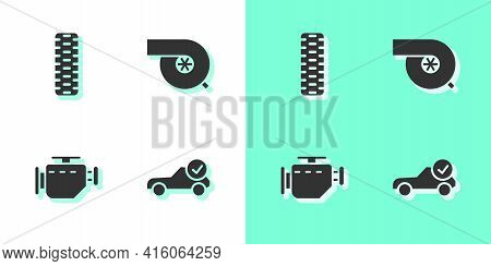 Set Auto Service Check Automotive, Car Tire Wheel, Check Engine And Automotive Turbocharger Icon. Ve