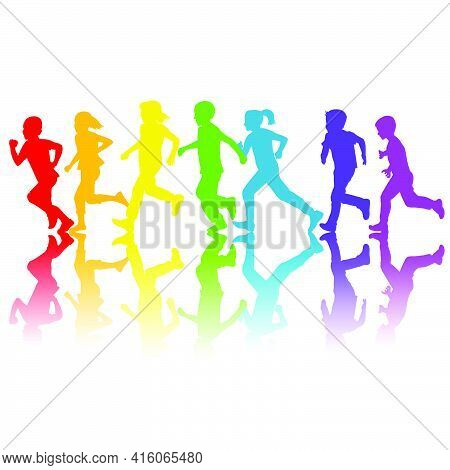 Rainbow Colors Silhouettes Of Children Running On White Background