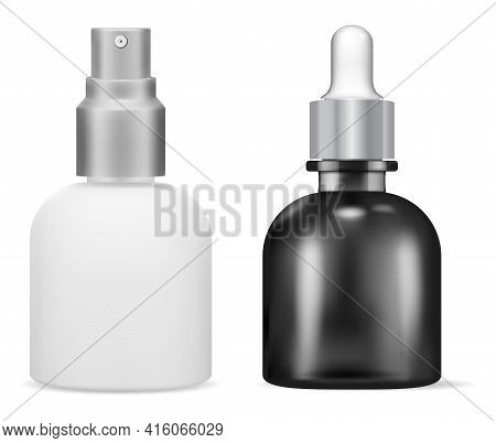 Dropper Bottle. Cosmetic Serum Spray, 3d Vector. Essential Oil Flask Mockup With Pipette, Face Skin