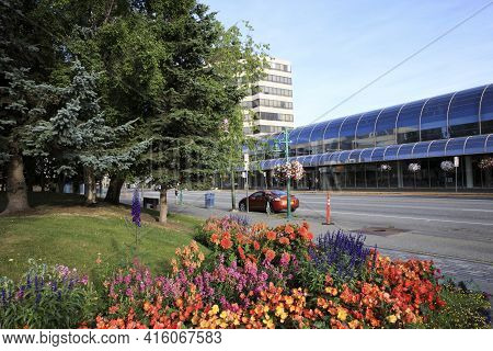 Anchorage, Alaska / Usa - August 08, 2019: Town Square Municipal Park In Anchorage Town, Anchorage,