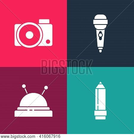 Set Pop Art Pencil With Eraser, Needle Bed And Needles, Microphone And Photo Camera Icon. Vector