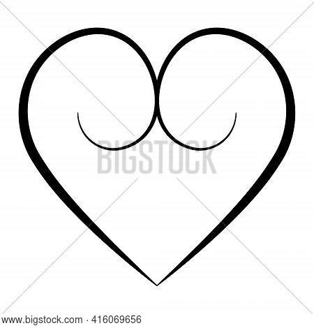 Elegant Heart With Calligraphic Contours, Vector Buttocks Heart Shape With Calligraphic Swirls Symbo
