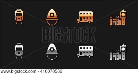 Set Tram And Railway, British Police Helmet, Double Decker Bus And Big Ben Tower Icon. Vector