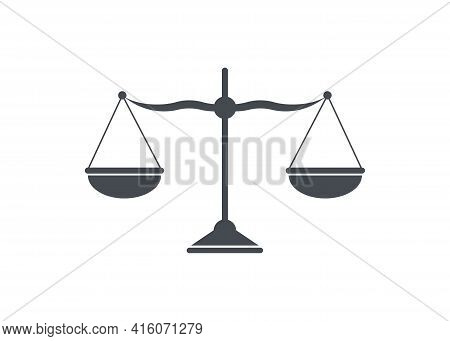 Scales Icon Isolated On White. Scales Icon Isolated On White. Balance And Imbalance Of Scales Vector