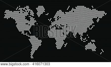 Black And White Hexagonal Pixel World Map. Vector Illustration Planet Earth Continents Hexagon Map D