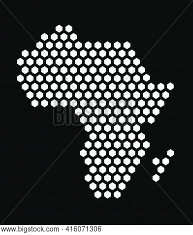 Black And White Hexagonal Pixel Map Of Africa. Vector Illustration African Continent Hexagon Map Dot