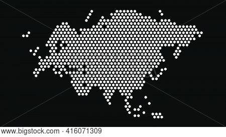 Black And White Hexagonal Pixel Map Of Eurasia. Vector Illustration Eurasian Continent Hexagon Map D