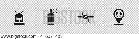 Set Flasher Siren, Hand Grenade, Barbed Wire And Location Peace Icon. Vector