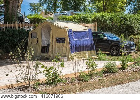 View To The Trailer Tent In Camping